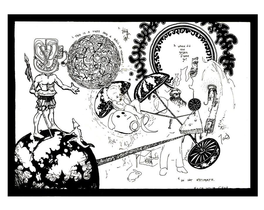 Trippy Kunst seltsam surreale Feder und Tinte schwarz und | Etsy