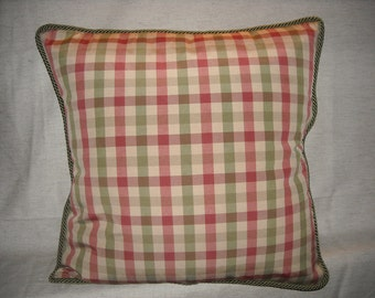 Calico Corners Fabric  Plaid Red, Green, Taupe Pillow Cover