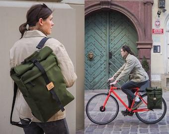 Bicycle Pannier bag / bike pannier backpack / roll top bag