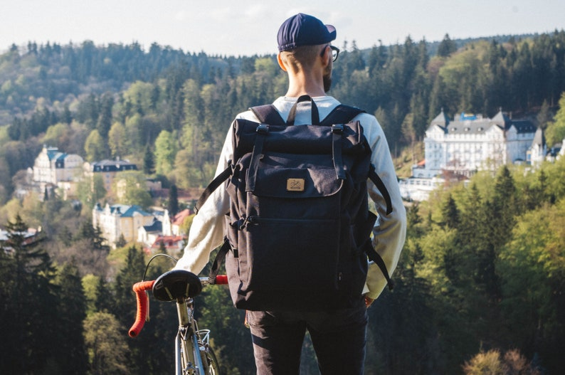 Messenger rolltop backpack Commuter rucksack image 0