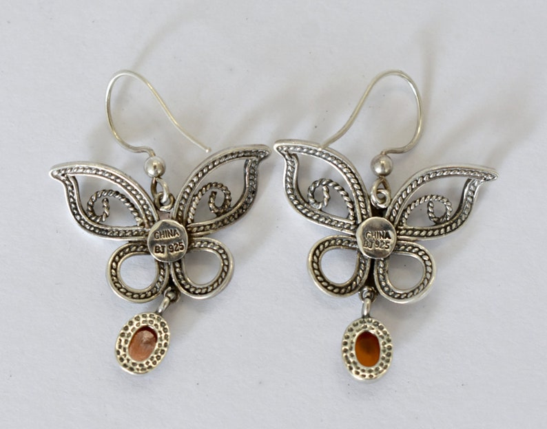 Whimsical 90/'s sterling amber abstract butterfly hippie dangles unusual 925 silver red amber accented edgy winged insect earrings BJ China