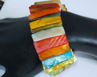 70's dyed Mother of Pearl stretch panel funky beach boho bracelet, big multicolored MOP shell hippie couture surfer extension cuff statement