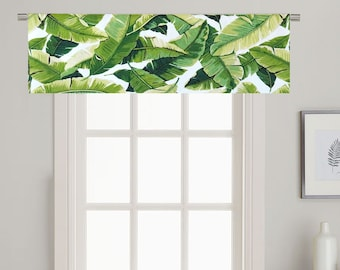 Tropical Palm Window Valance.Palm Leaf Valance.Green Valance Curtain. Tropical Kitchen Valance.Green Curtains.Tropical Home Decor
