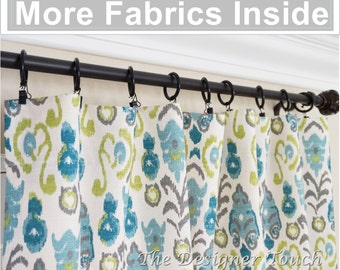 PAIR Peacock Curtain PanelsKiwi Green Navy Blue CurtainsIkat DraperyTeal Curtains 63 84 96 Any Size