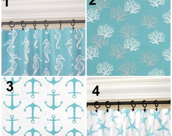 Aqua Curtains.Anchors Window Curtains.Aqua Kitchen Curtains.Aqua Blue Drapes.Nautical  Curtains.Anchors Drapes.Beach House Decor