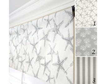 Starfish ValanceGrey Valance CurtainOatmeal Window ValanceGray Stripes Kitchen CurtainGray Coral