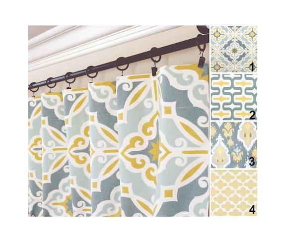 yellow gray window curtains grey blue drapes yellow aqua etsy rh etsy com