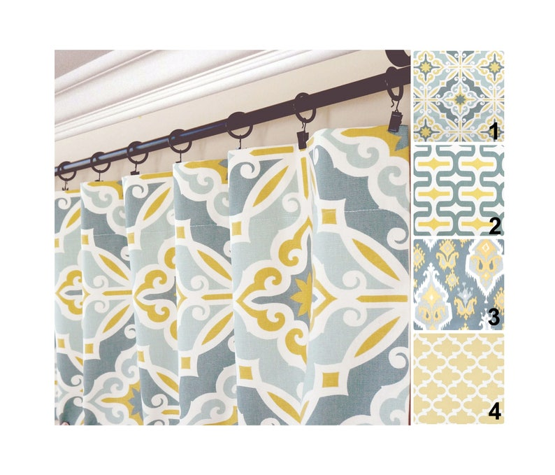 Yellow Gray Window Curtainsgrey Blue Drapesyellow Aqua Etsy