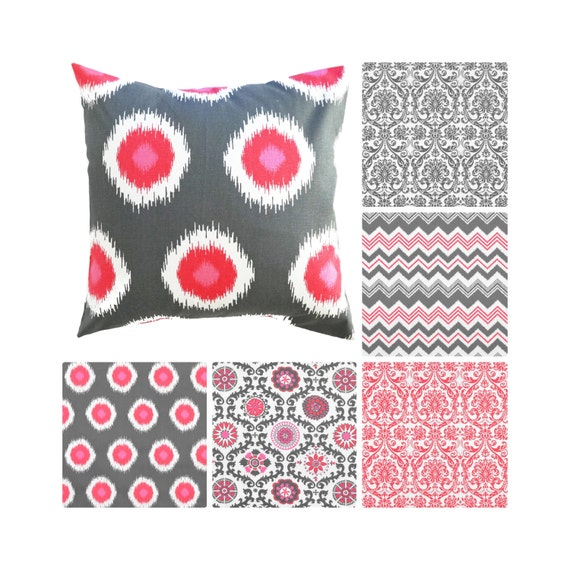 Pink Grey Decorative PillowsPink Pillow CoversRed Damask Etsy Best Red And Gray Decorative Pillows