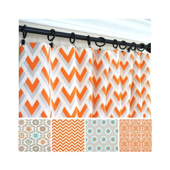 Orange Gray Curtain.Orange Window Curtain.Orange Gray Kitchen  Curtains.Orange Kids Curtain.Aqua Drapes.Gray Aqua Curtain Panels