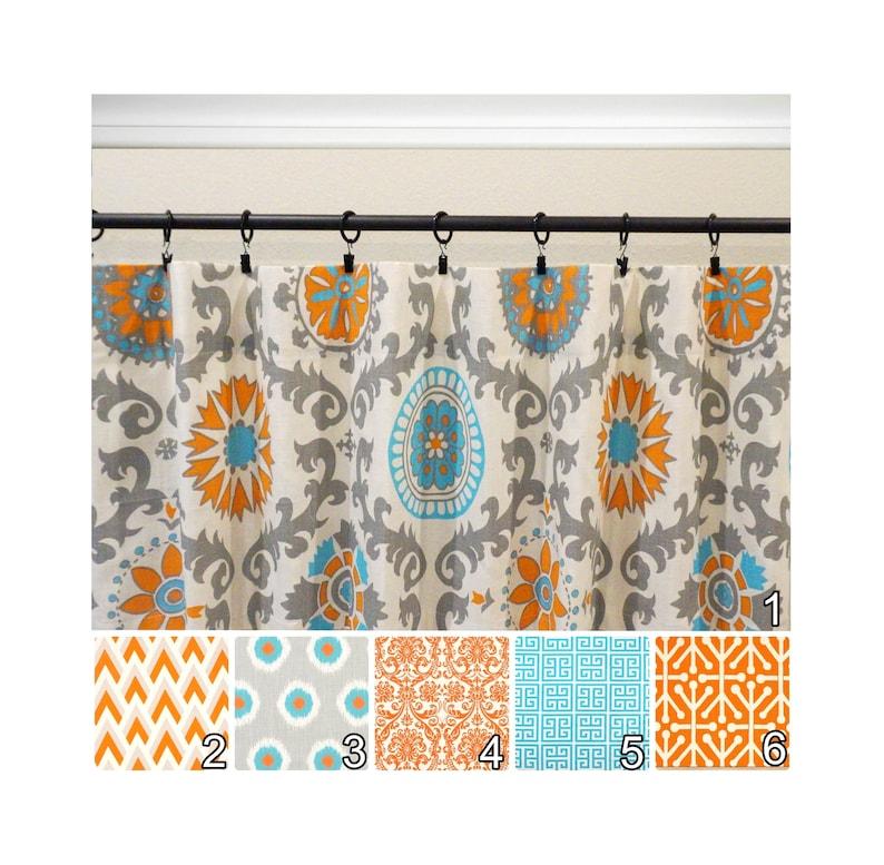 Orange Curtains.Grey Curtains.Orange Aqua Kitchen Curtains.Aqua  Curtains.Aqua Gray Drapes.Aqua Window Curtains.Optional Blackout
