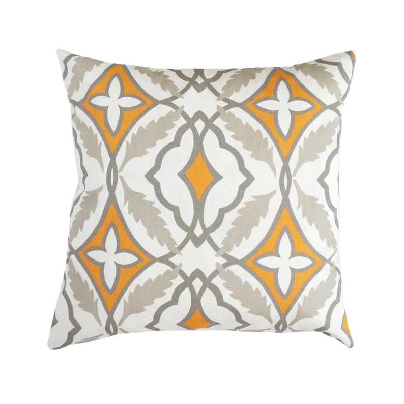 Orange Pillow Covertaupe Throw Pillowsquartrefoil Morrocan Etsy