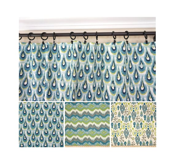 Delicieux Peacock Window Curtains.Blue Green Drapery.Blue Grey Turquoise | Etsy