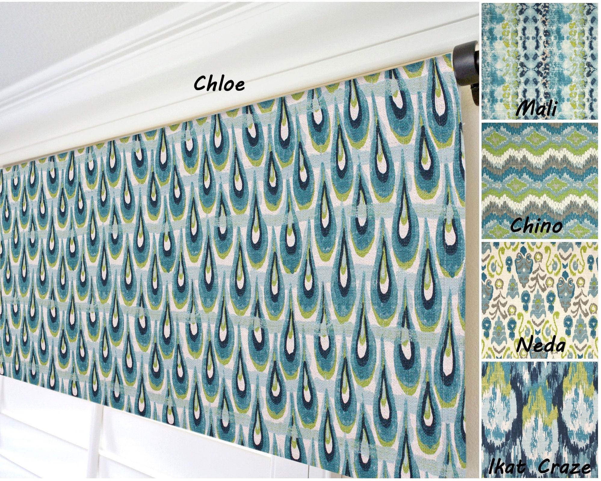 Navy Blue White Lime Green Peacock Colors Window Treatments Valance Panel 52 x 15 Geometric Ikat Chevron Damask Trellis