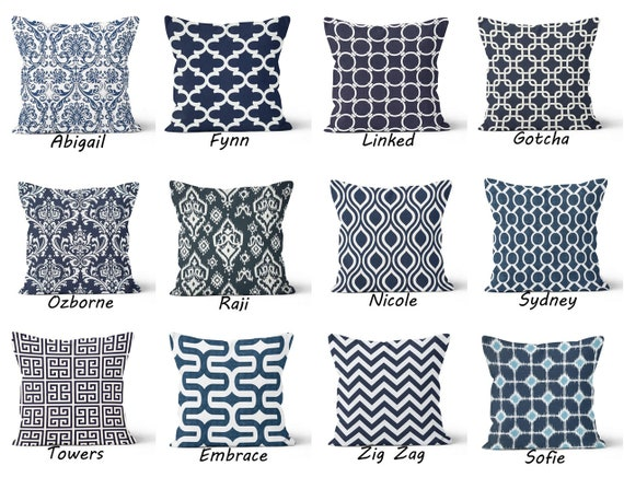 Awe Inspiring Navy Blue Throw Pillow Cover Dark Blue Toss Pillow Lumbar Blue White Couch Pillow Euro Sham Pillow Accent Pillow 16X16 18X18 20X20 Pillow Andrewgaddart Wooden Chair Designs For Living Room Andrewgaddartcom