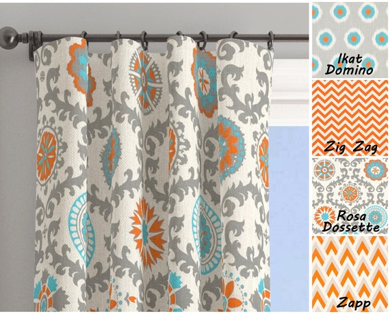 Orange Aqua Curtain Panels Aqua Blue Curtains Chevron Etsy