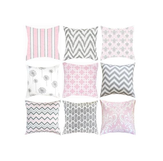 Grey Throw Pillow Cover.Pink Pillows.Toss Pillow.Pink Grey | Etsy