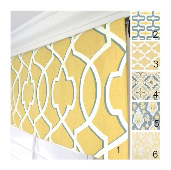 Yellow Grey Window Valance.Mustard Yellow Valance.Trellis Kitchen  Valance.Yellow Gray Valance Curtain.Saffron Yellow Valance