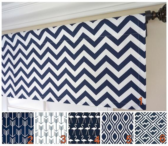 Navy Blue Valance Curtain.Kitchen Valance Curtains.Navy Valance.Dark Blue  Custom Valance.Arrow Valance.Custom Valance.52\