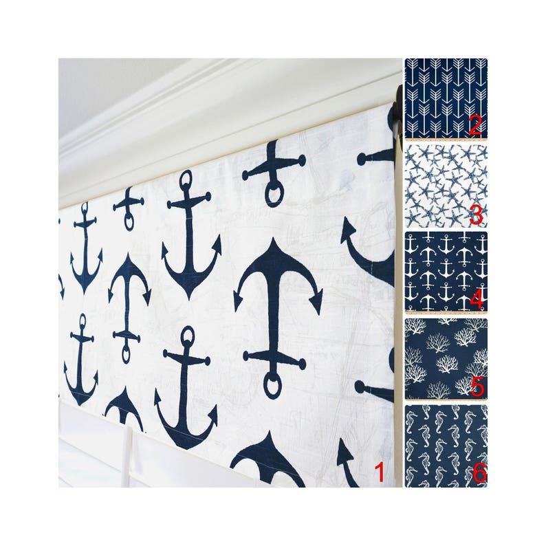 Nautical Navy Stripe Anchor Border Sailor Curtain Valance
