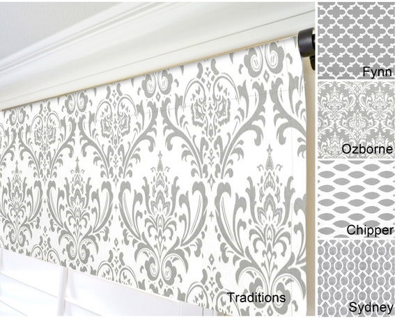 Gray Window Valance.Damask Valance.Gray Kitchen Valance.Crests  Valance.Modern Gray Valance.Custom Valances.Gray Moroccan Valance