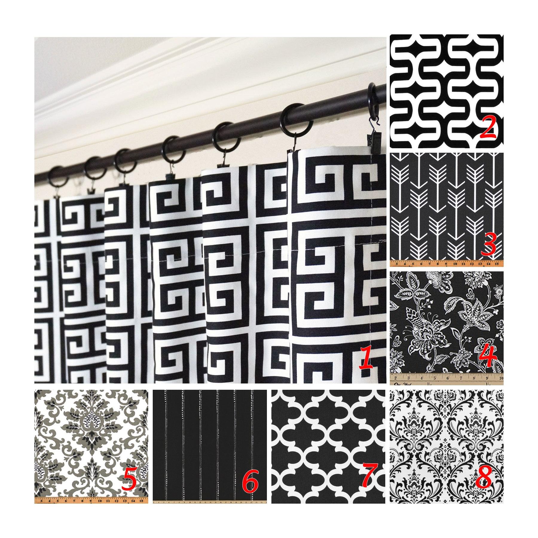 Fenster Curtains.Black White Curtains.Greek Key Curtain Panels.Arrow  Curtains.Black White Kitchen Curtain.Geometric Drapery Panel