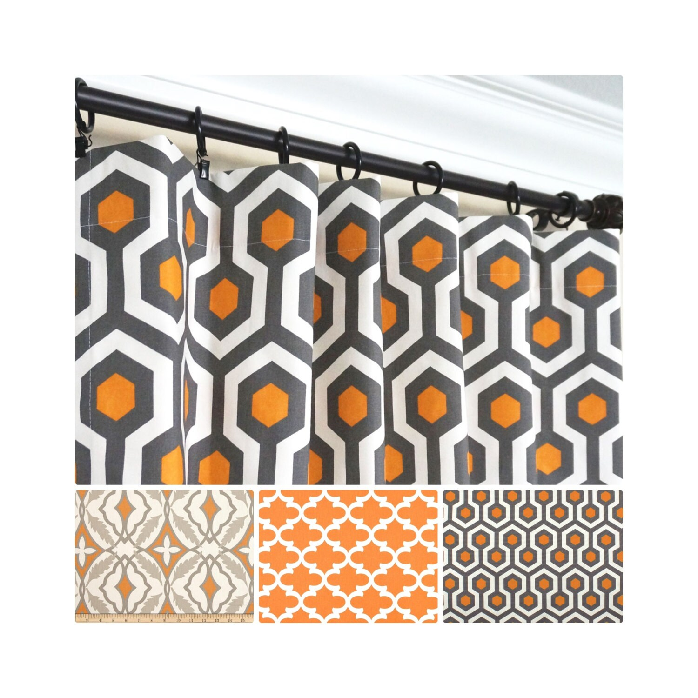 Orange Window CurtainsGrey Curtain PanelsOrange Kitchen