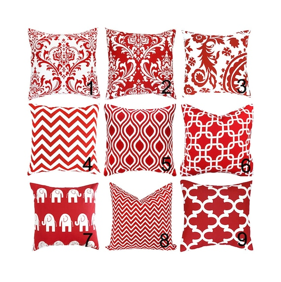 Red Pillow Cover.Red Throw Pillows.Damask Pillow.Red Cushions.Geometric  Pillow.Euro Sham Cover.Pillows.Cushions.Any Size