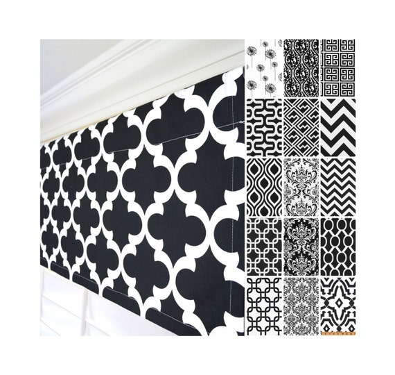 Black and White Window Valance.Kitchen Valance.Black Damask Custom  Valance.Greek Key Valance.Black & White Valance Curtains