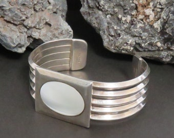 Heavy sterling silver cuff bracelet, Mother of Pearl, carinated, 5 bands, vintage, marked 925, Taxco Mexico, 62 grams
