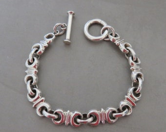 Heavy men's sterling chain link bracelet, marked Taxco Mexico 925, toggle, vintage, fits up to 6 3/4 inch wrist, 41 grams