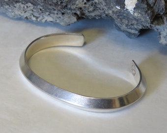 Carinated sterling silver cuff bracelet, marked Taxco Mexico, men's or women's, 925, vintage, 28.1 grams