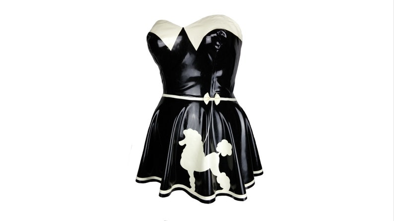 Black latex dress latex mini dress with poodle applique etsy