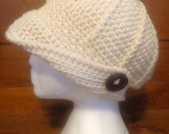 """CROCHET PATTERN only - """"By My Side"""" Trendy Versatile Ladies & Girls Ponytail Hat, Side or Back Hole, Open or Folded Brim, Side Winged Button"""