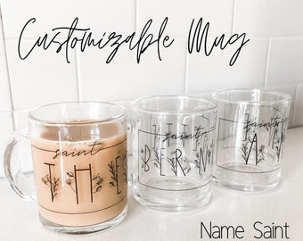Customizable Saint Glass Mug, patron saint mug, confirmation saint mug, name saint mug, personalized saint