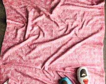 Pink Hail Mary Prayer Minky Baby Blanket, Prayer Blanket, Catholic Prayer