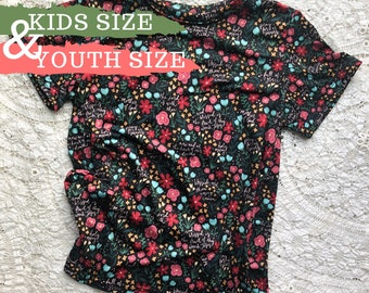 Kids & Youth Floral Hail Mary Prayer Shirt in Black