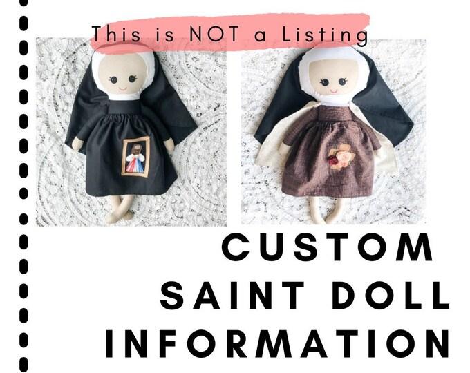 Featured listing image: Information: Custom Catholic Saint Dolls