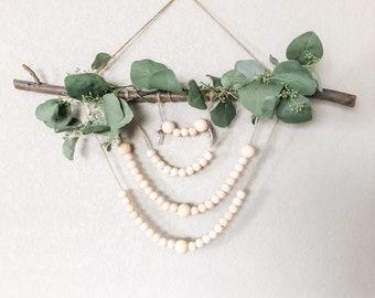 Wooden Bead Rosary Wall Hanging, Catholic Decor, Decorative Rosary, Boho Style Rosary