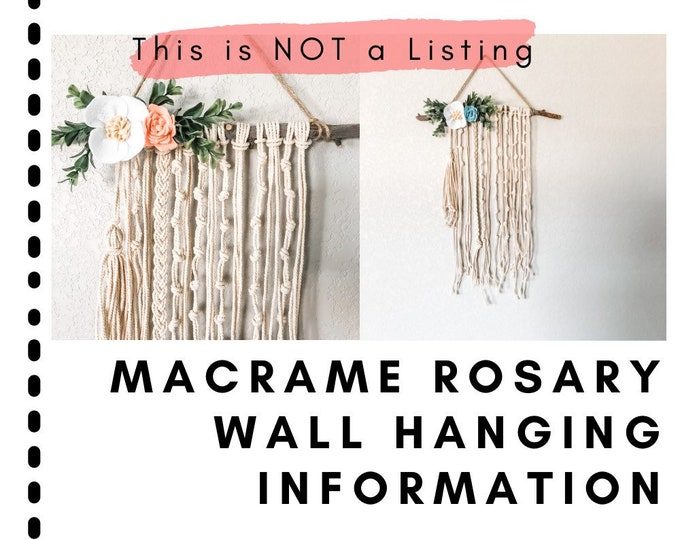 Featured listing image: Information: Macrame Rosary Wall Hanging