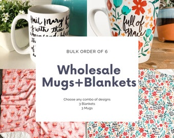 Wholesale Mugs and Blankets, Bulk Order of 6