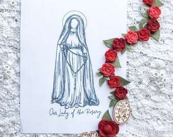 "Our Lady of the Rosary 8""x10"" Printable"