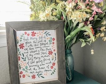 "Floral Hail Mary Prayer 8""x10"" Printable"