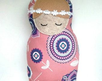 Snuggle baby doll, floral baby doll, fabric baby doll, plush baby doll toy