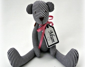 Memory and Keepsake Bears made from your loved ones clothing. smaller bear