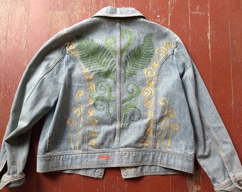 Fiddlehead fern and salamander, newt, into the forest hand painted denim jeans jacket, ooak, painted clothing