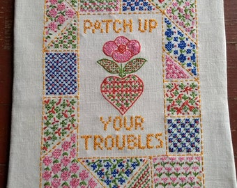 Vintage cross stitch sampler, inspirational quote, flowers