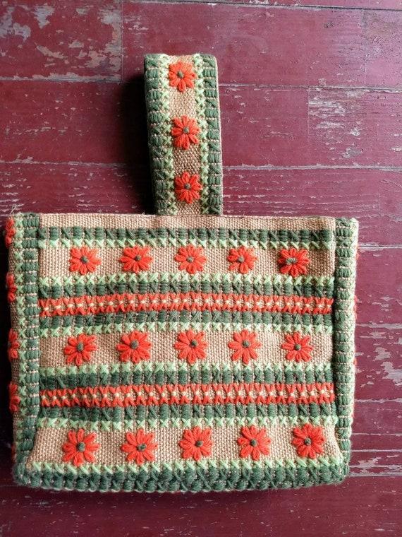 Vintage handmade orange and green flower needlepoi