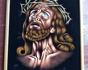 Vintage Black Velvet Passion of the Christ, crying Jesus, wept painting, framed