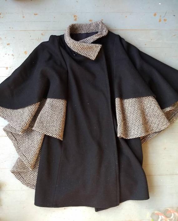 Vintage flocked wool cape